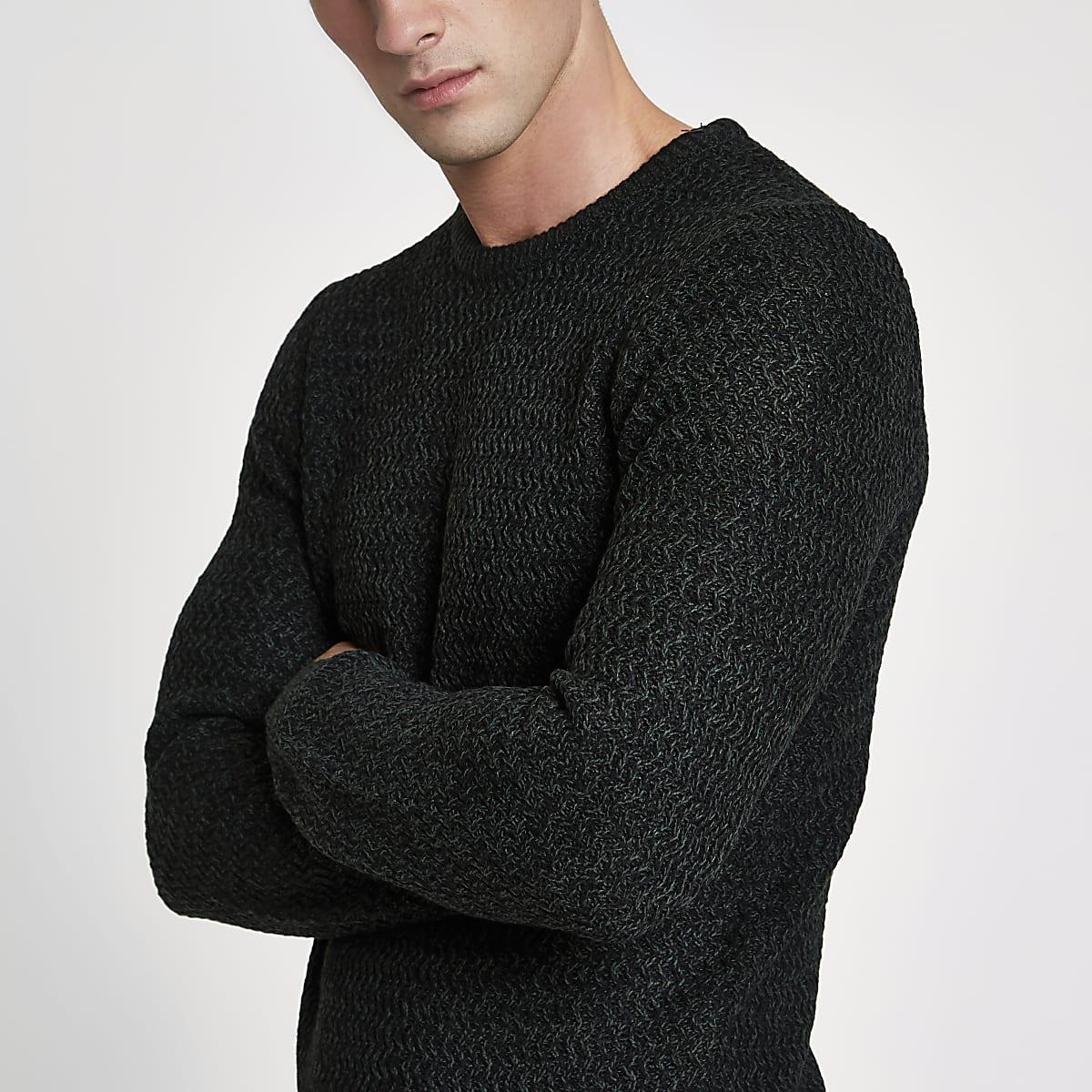 Green knit slim fit crew neck sweater