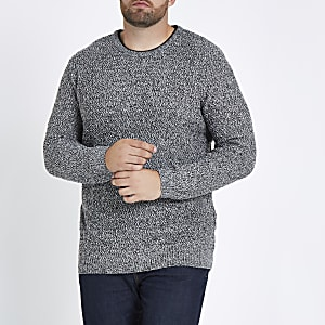 Big and Tall grey slim fit textured sweater