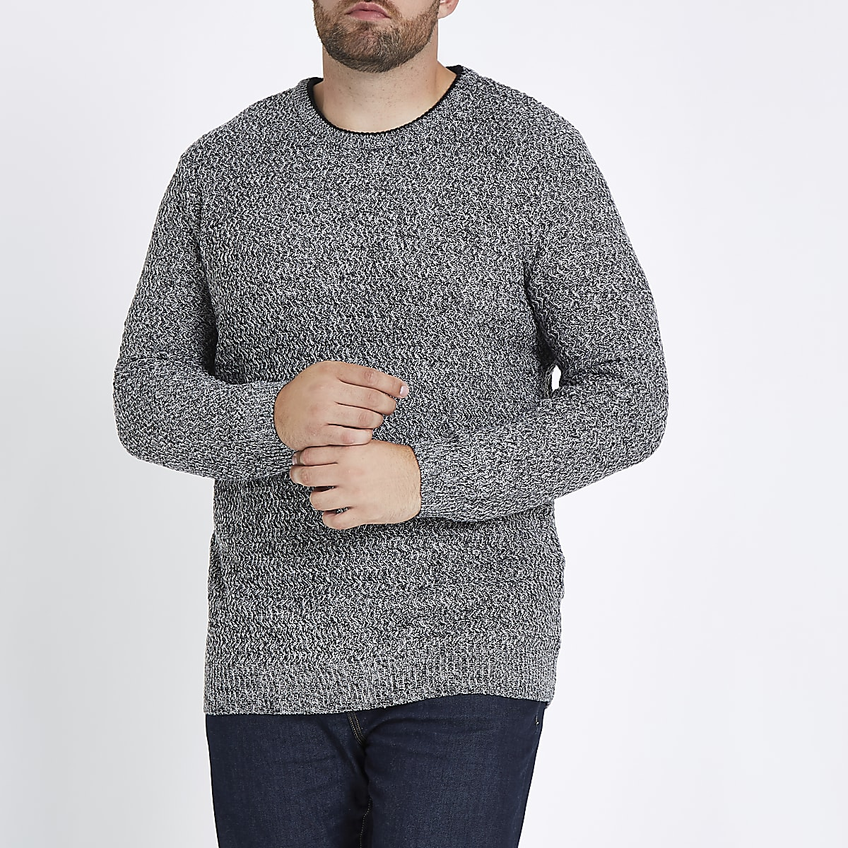 Big and Tall – Grauer Slim Fit Pullover mit Struktur