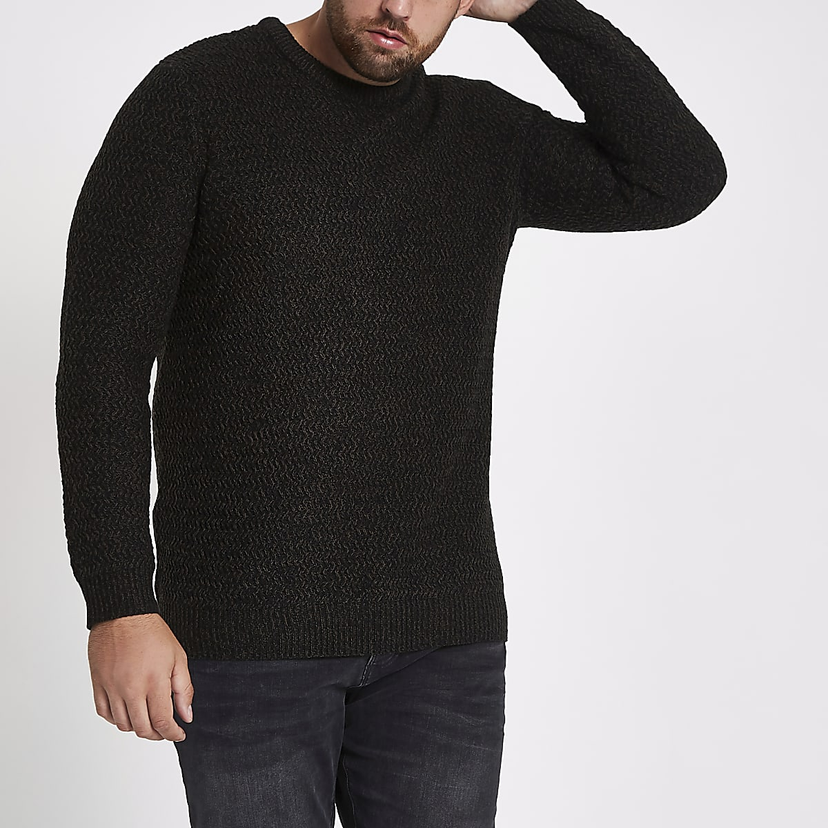 Big and Tall black slim fit textured jumper