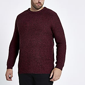 Big and Tall red slim fit textured sweater