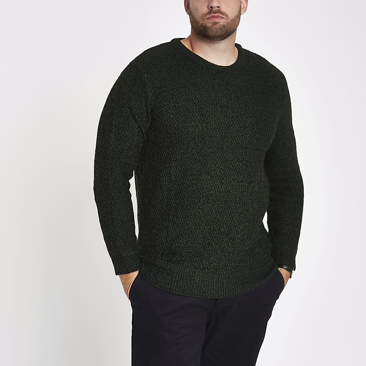 Big and Tall green slim fit textured jumper