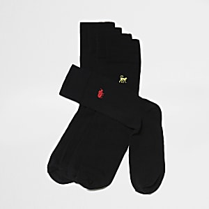Big and Tall - 5 paar zwarte sokken met dierenprint