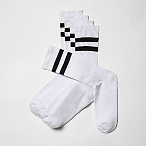 Big and Tall – Lot de 5 paires de chaussettes rayées blanches