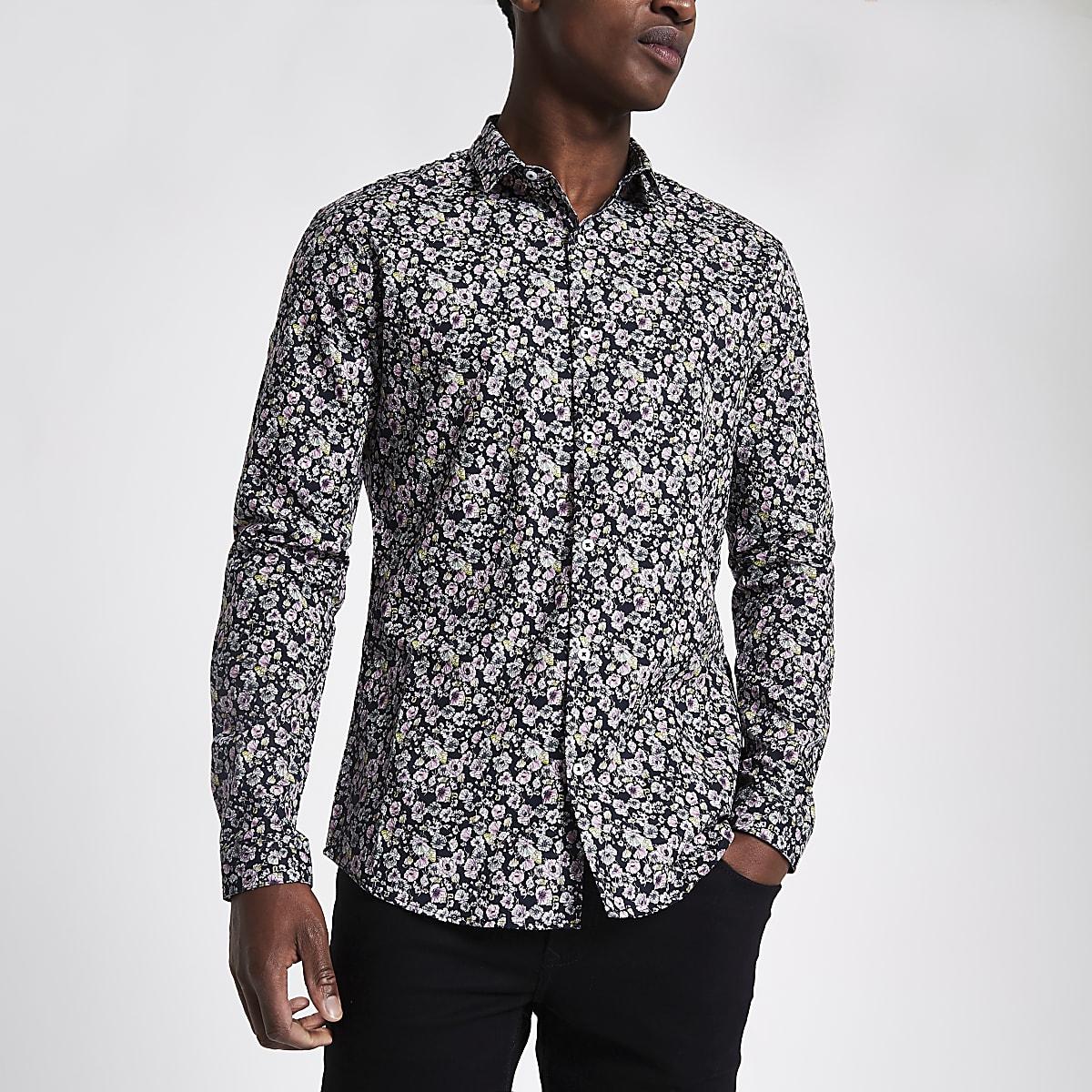 Pink floral slim fit long sleeve shirt