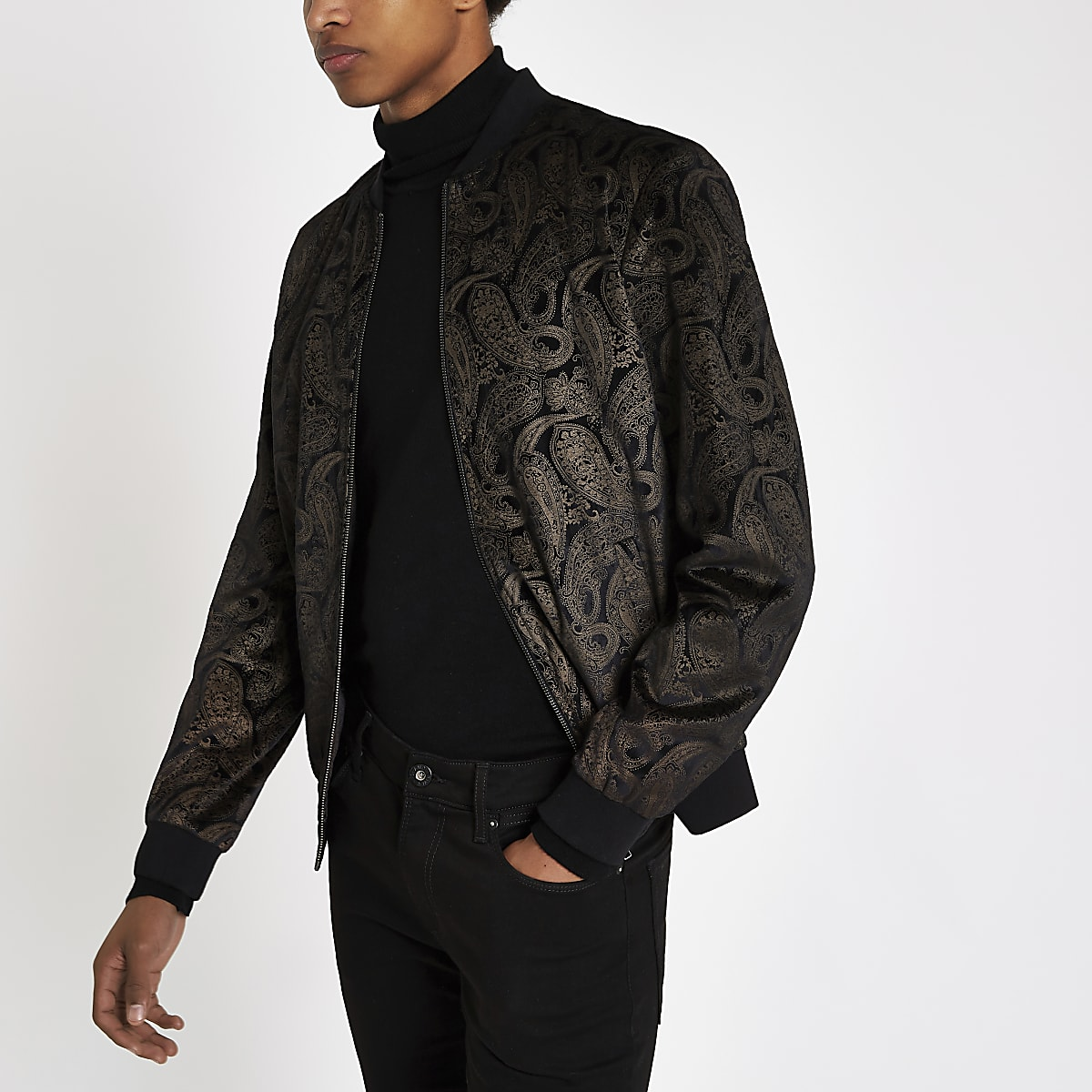 b16b5bd2c Brown and gold paisley velvet bomber jacket