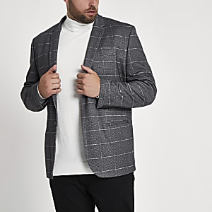 Big and Tall - Grijze geruite skinny-fit blazer