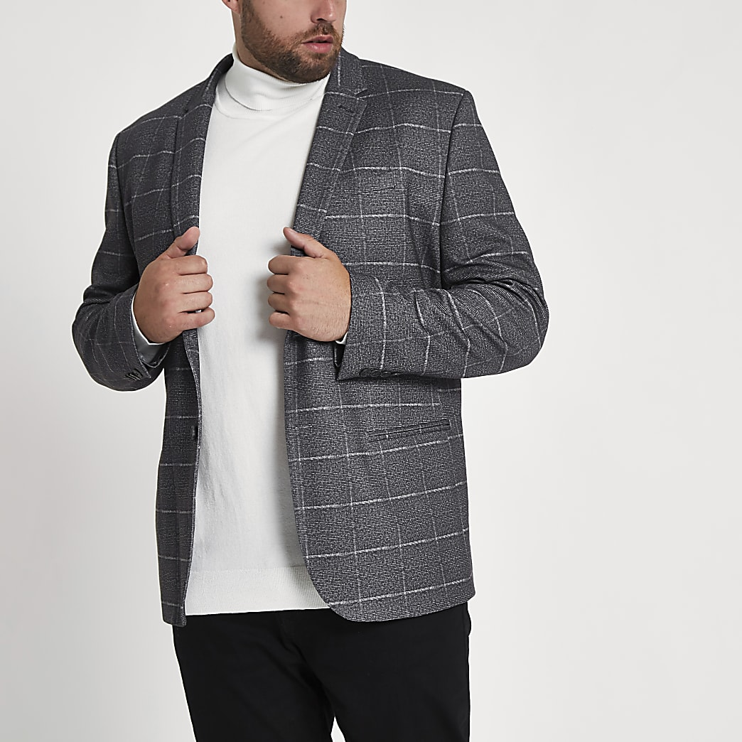 Big and Tall - Grijze geruite skinny-fit blazer
