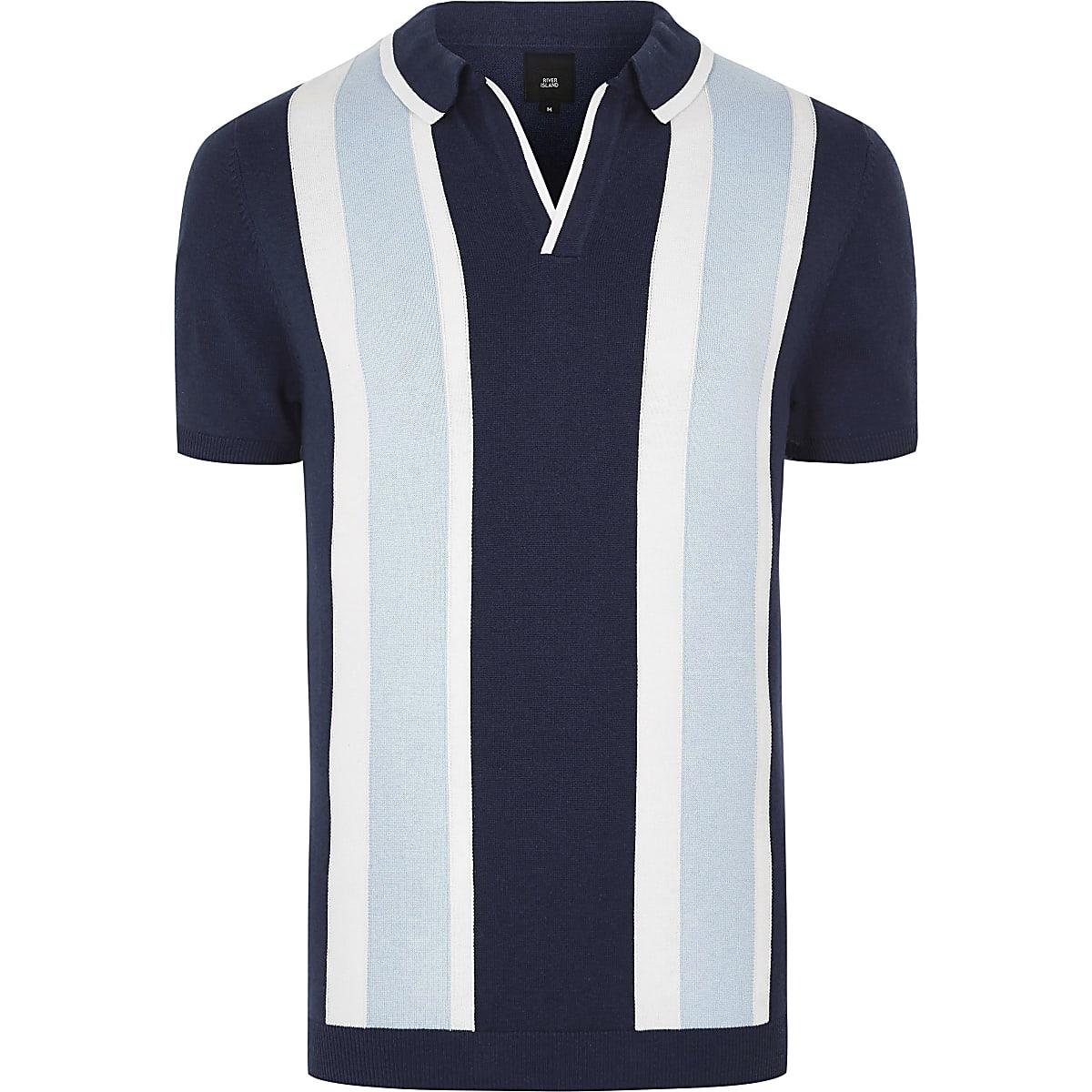 Big & Tall – Blaues, gestreiftes Polohemd