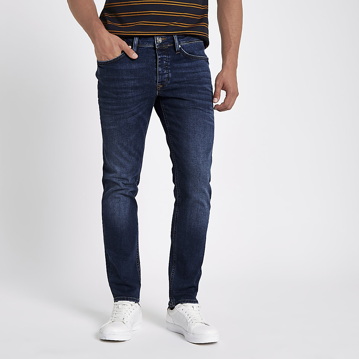 Dark blue Dylan slim fit denim jeans