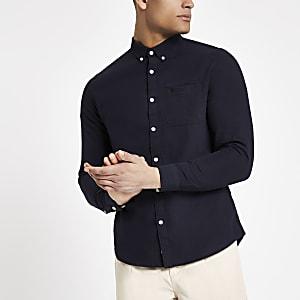 Chemise Oxford bleu marine à broderie guêpe