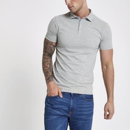 Grey essential muscle fit polo shirt