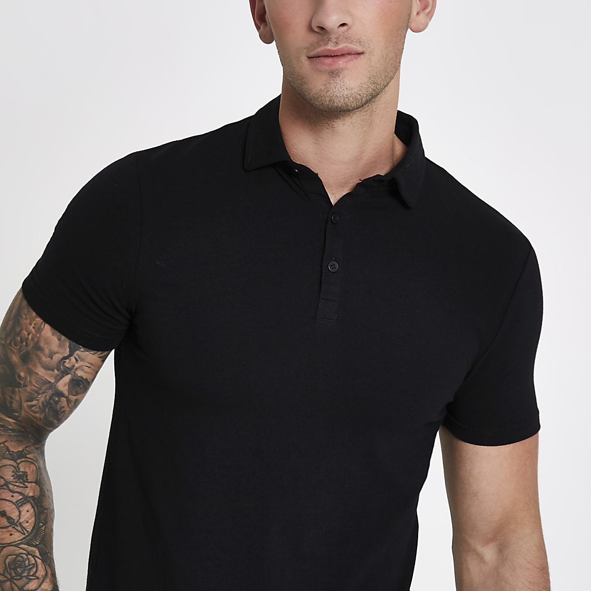 61c438413 Black essential muscle fit polo shirt - Polo Shirts - men