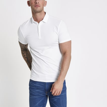 White essential muscle fit polo shirt