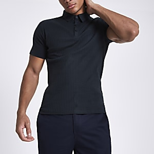 b9ed3417 Grey marl muscle fit ribbed polo shirt - Polo Shirts - men