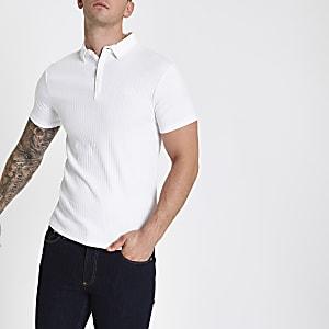 Essentials – Polo ajusté blanc côtelé