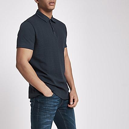Navy slim fit short sleeve polo shirt