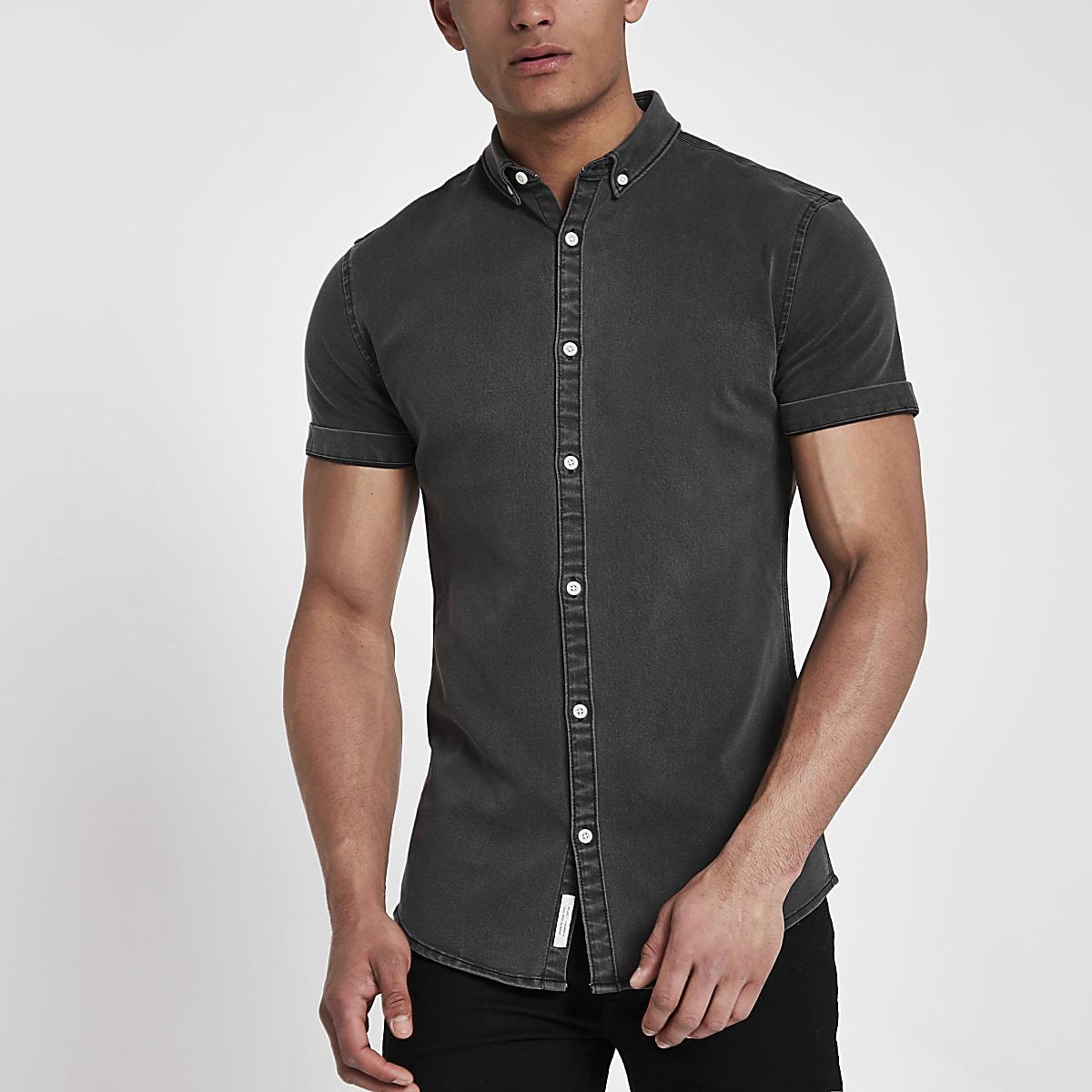 Black wash muscle fit denim shirt