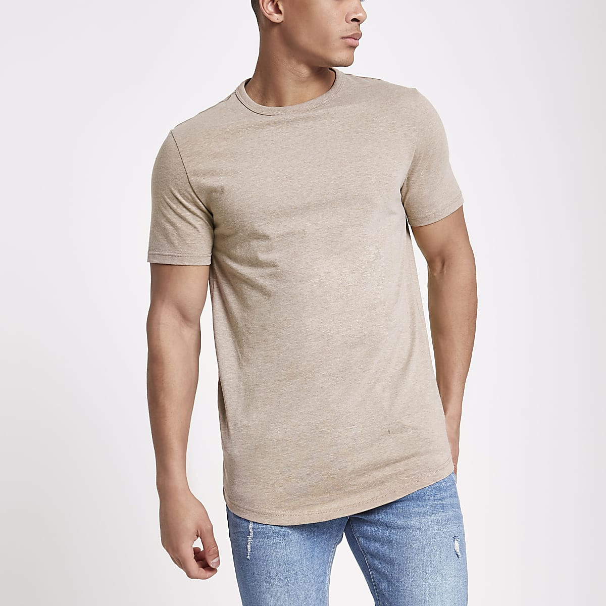 Brown marl longline crew neck T-shirt