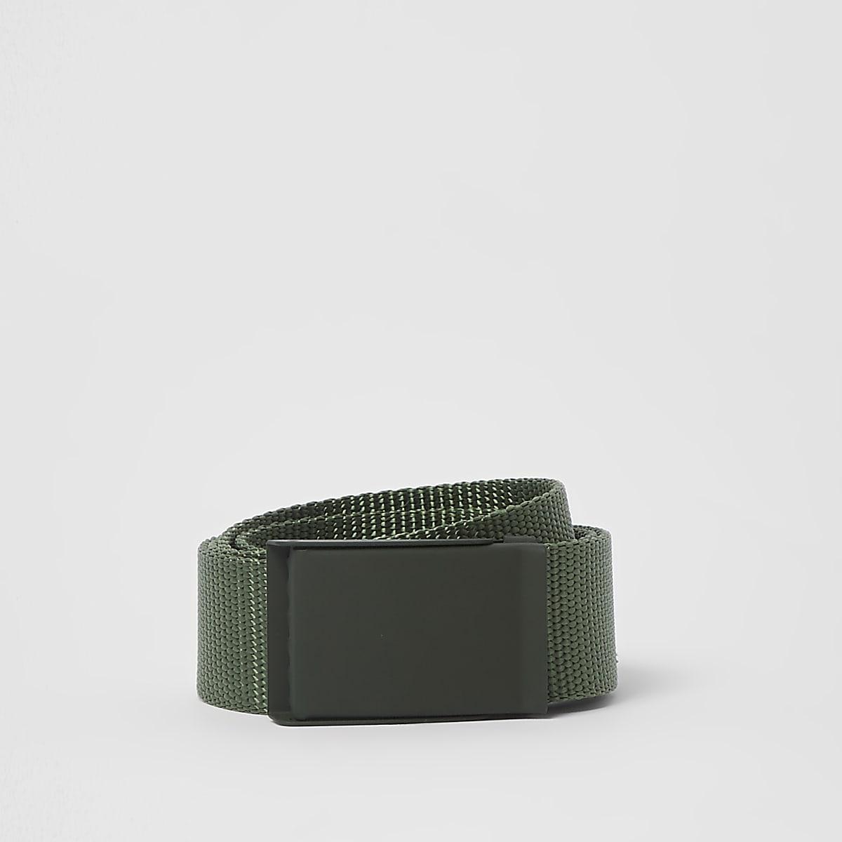Green textured plate buckle belt