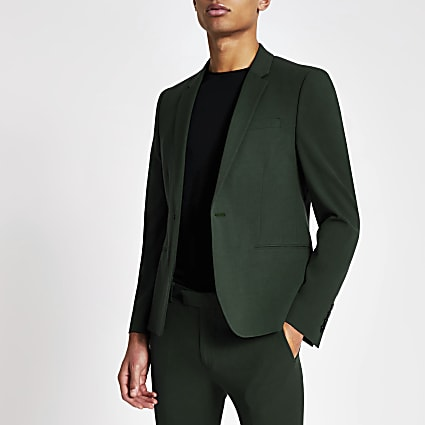 Dark green super skinny suit jacket