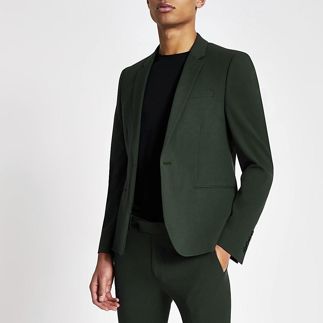 Dark green super skinny suit jacket