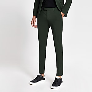 Dark green super skinny suit pants