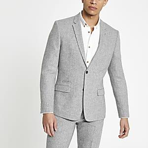 Veste de costume cintrée grise à chevrons