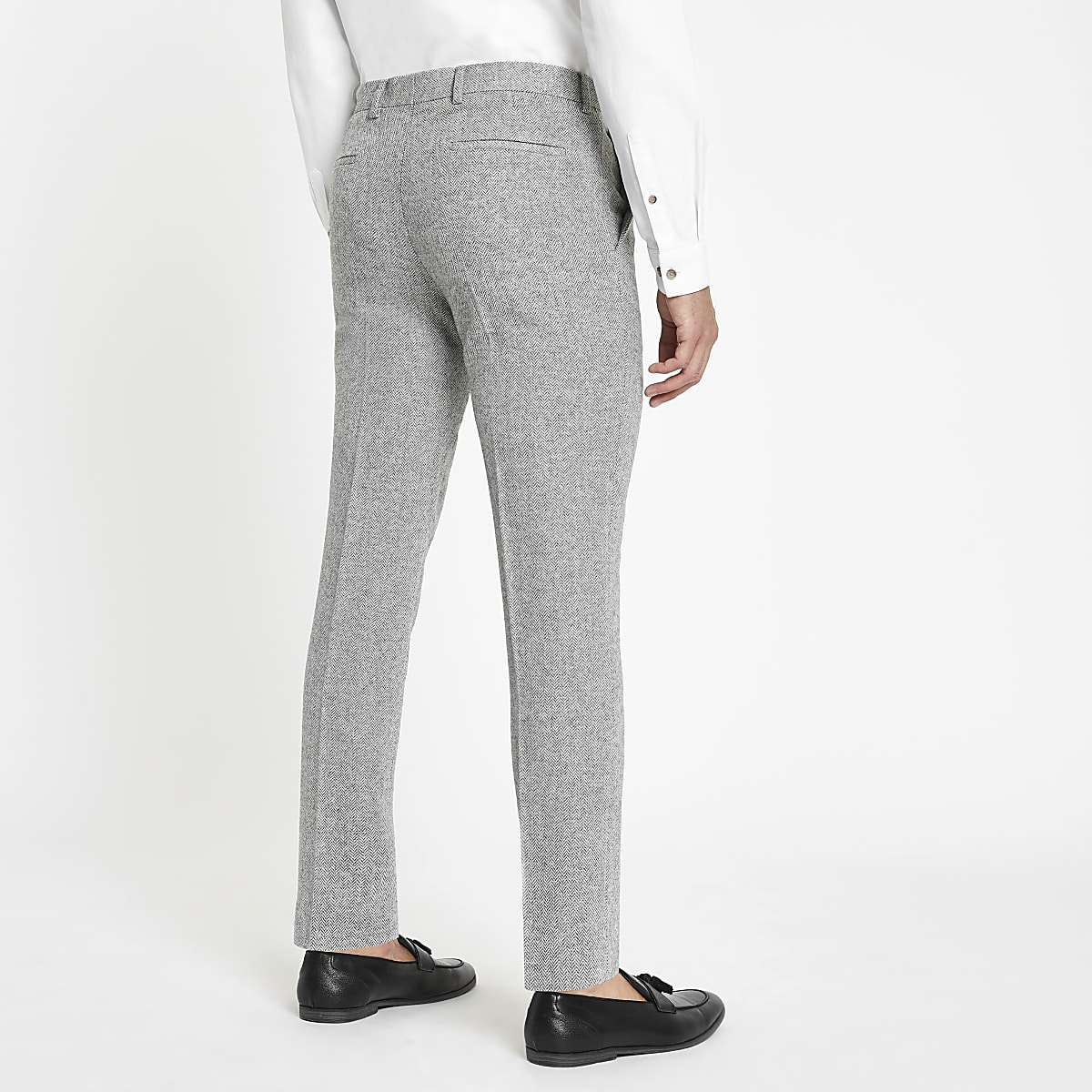 18199d69a7 Grey herringbone skinny fit suit trousers