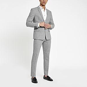 Graue Skinny Fit Anzughose