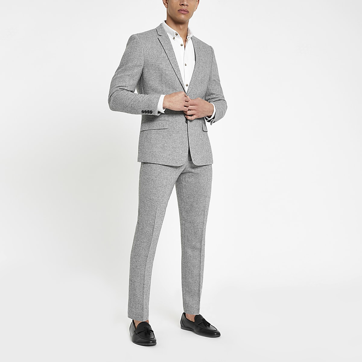 Grey herringbone skinny fit suit pants