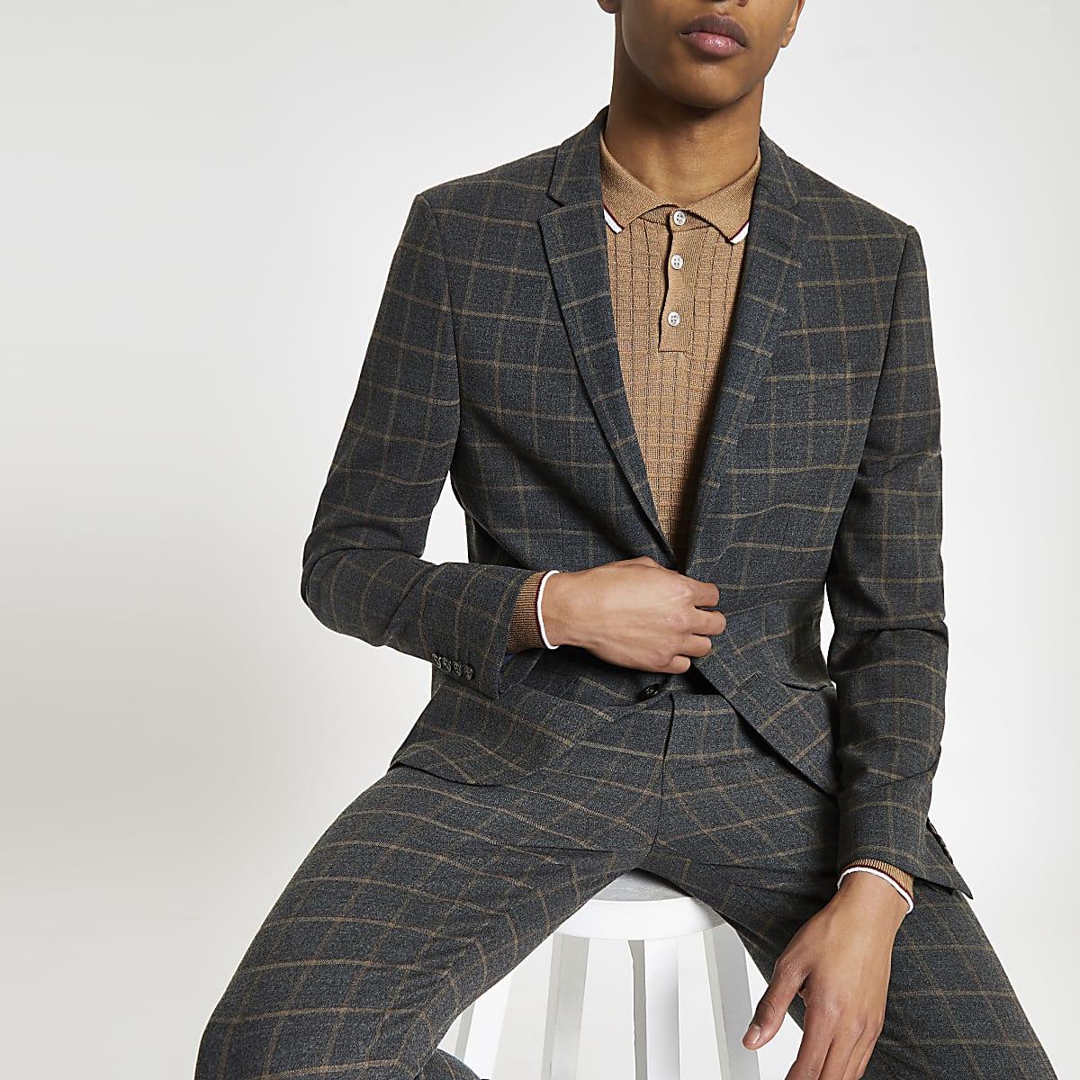 Dark grey check skinny fit suit jacket