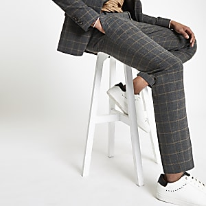Dark grey check skinny suit pants