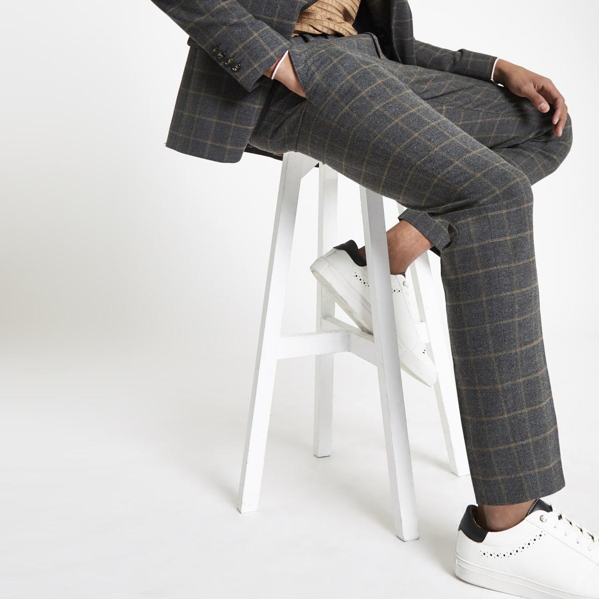 Dark grey check skinny suit pants