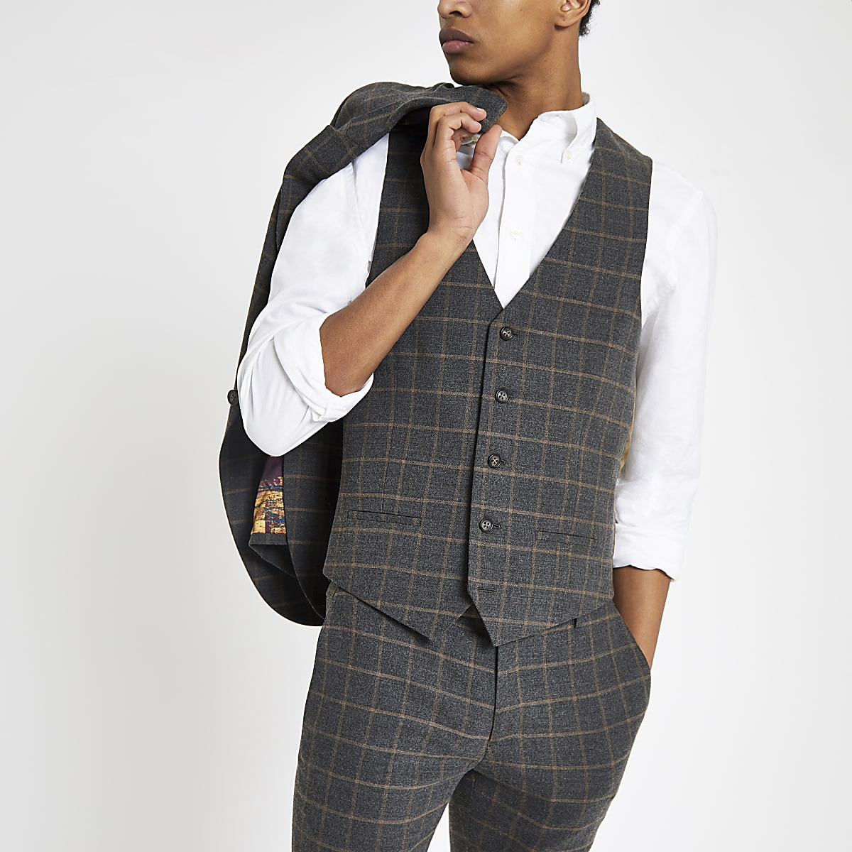 Dark grey check suit vest