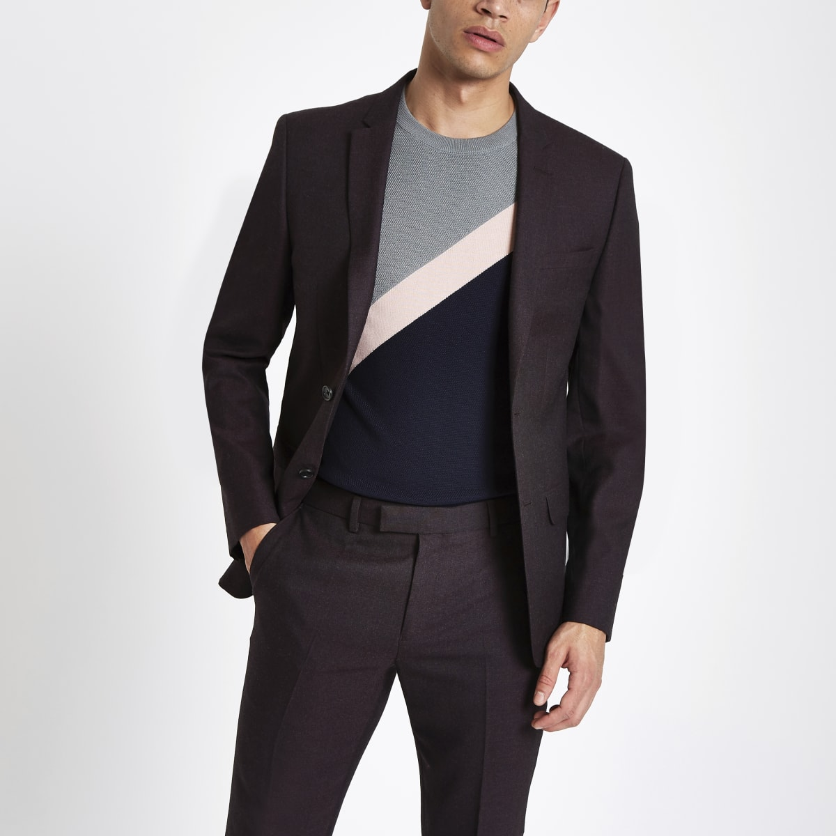 Veste de costume violet foncé coupe ajustée