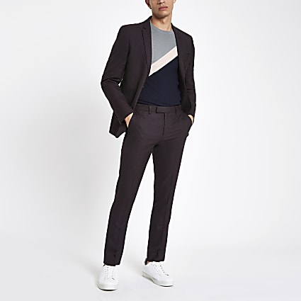 Dark purple skinny fit suit trousers