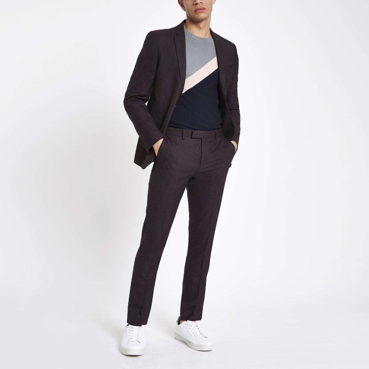 Donkerpaarse skinny-fit pantalon
