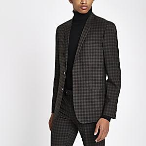 Veste de costume skinny à carreaux marron