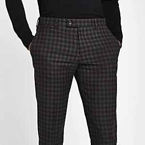 Bruine geruite skinny-fit pantalon