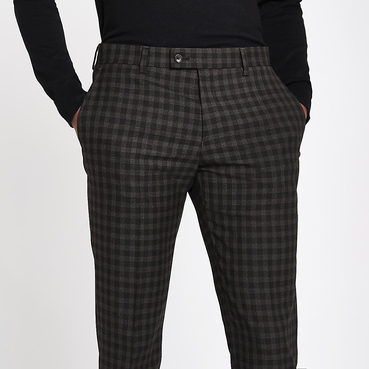 dee5c09916ea6 Brown shadow check skinny fit suit trousers - Suit Trousers - Suits - men