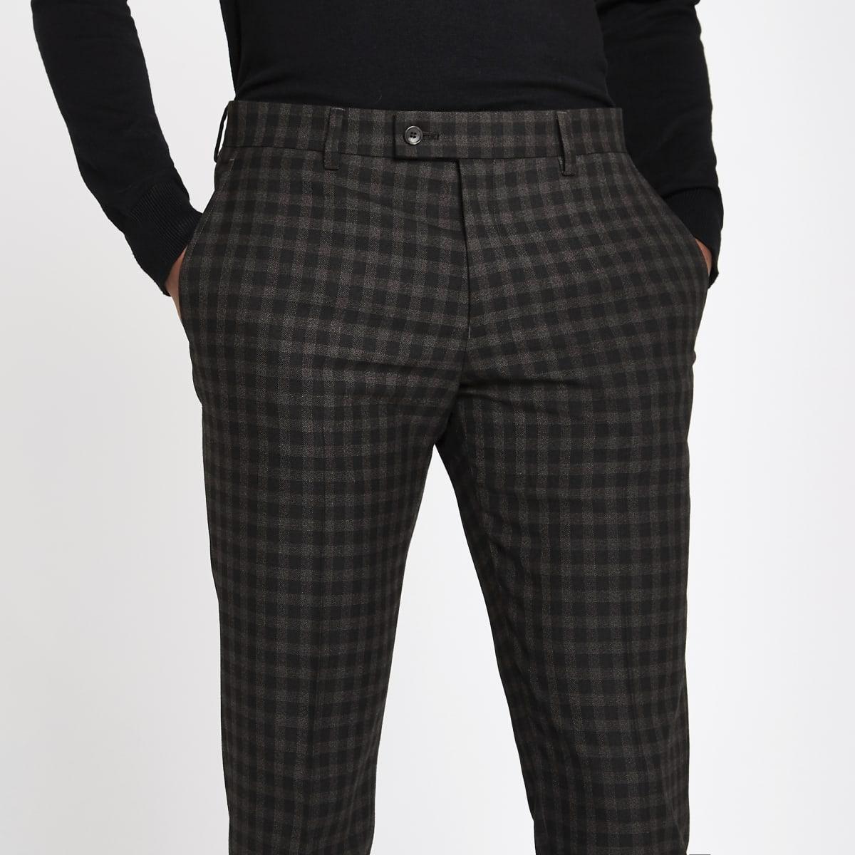 Brown shadow check skinny fit suit pants