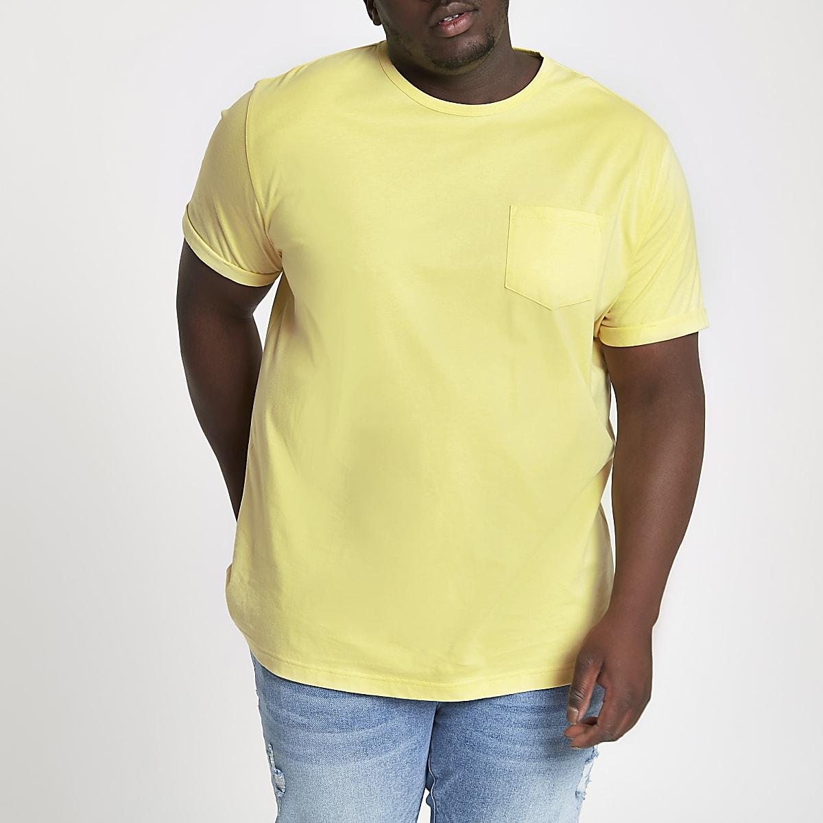 Big & Tall – Gelbes T-Shirt mit Tasche