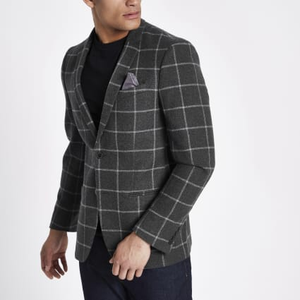 Dark grey window check skinny fit blazer