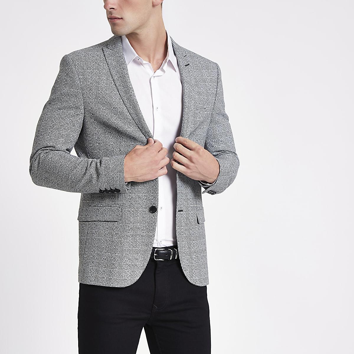 Grey check super skinny fit blazer