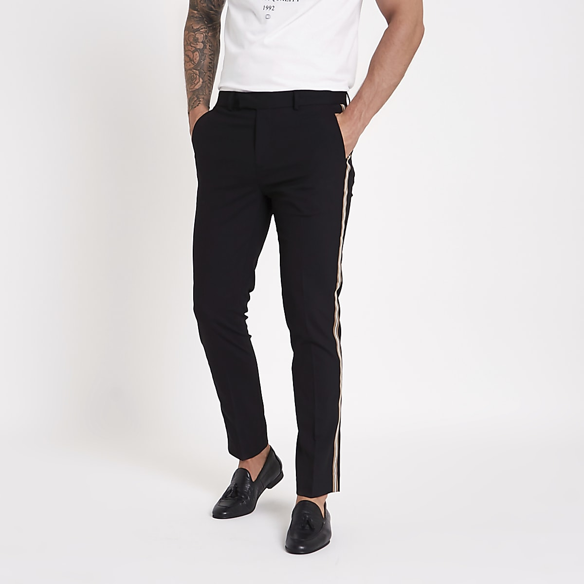 Black tape side skinny fit trousers