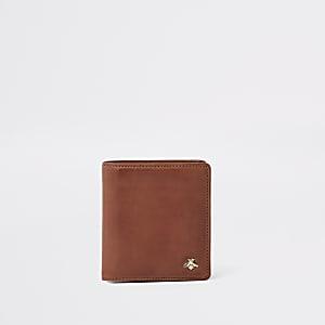 Bruine uitvouwbare verfraaide portemonnee met wespenprint