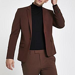 Veste de costume skinny stretch rouille