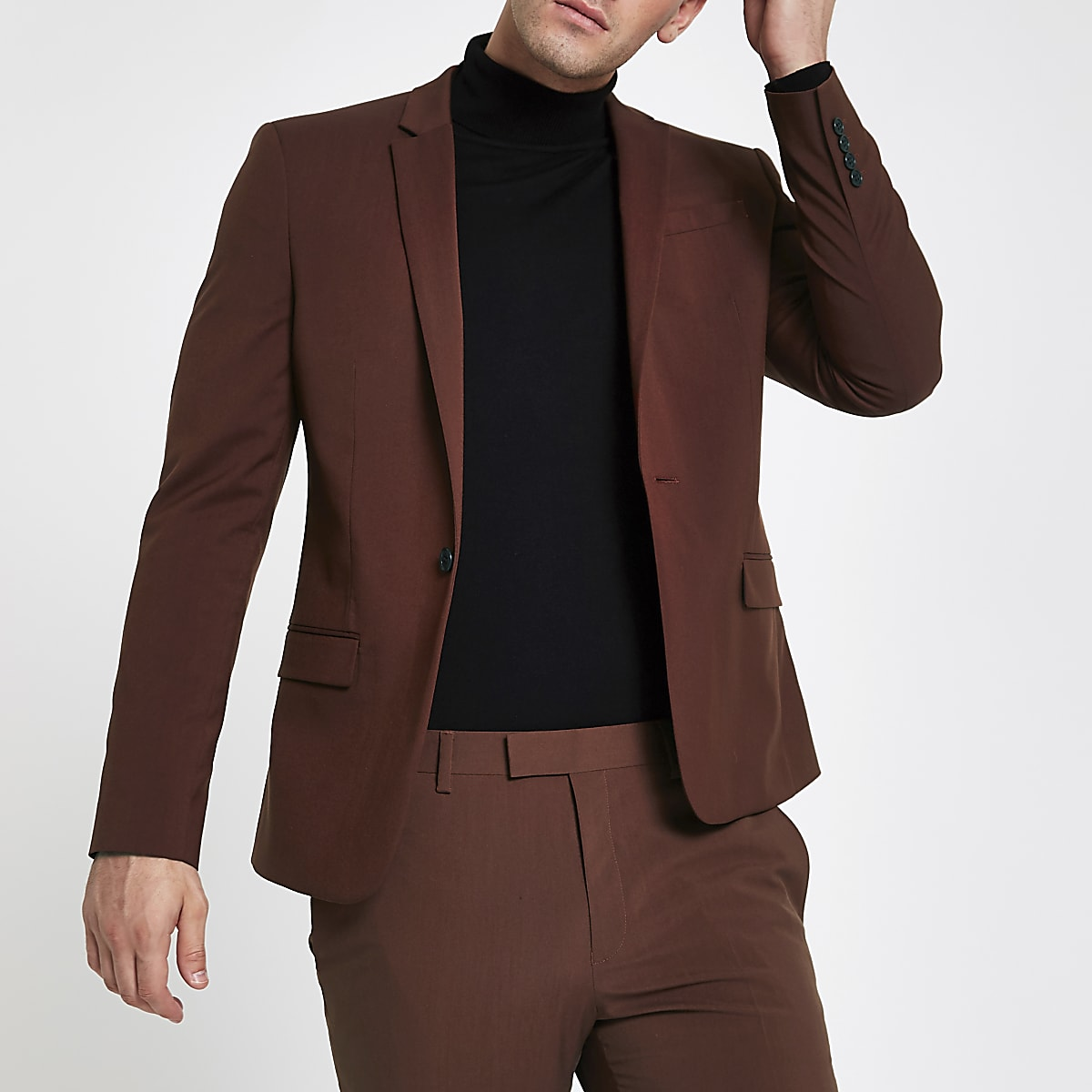 Rust stretch skinny fit suit jacket