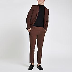 Pantalon de costume skinny stretch rouille